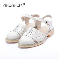 Sandals Women Genuine Leather White Fretwork 2017 Summer Shoes Woman Fisherman Sandal Flat Wedding Shoes Sandalias