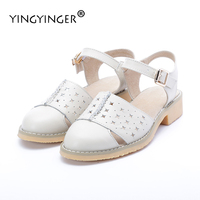 Sandals Women Genuine Leather White Fretwork 2017 Summer Shoes Woman Fisherman Sandal Flat Wedding Shoes Sandalias