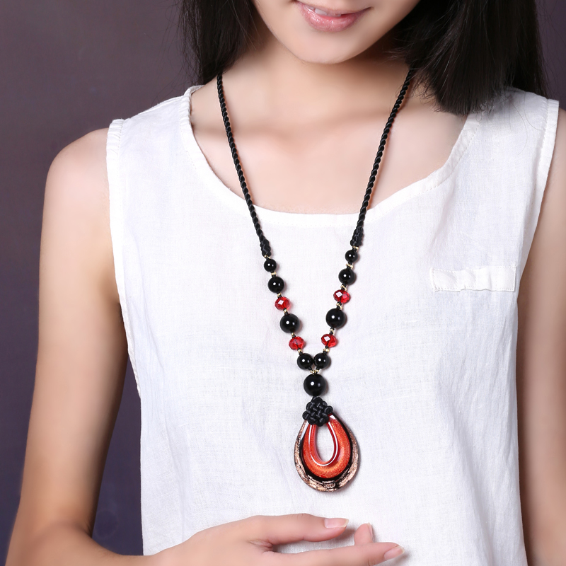 Jiangnan necklace Colored glass national wind pendant female long section jewelry sweater chain pendant retro accessories decoraJiangnan necklace Colored glass national wind pendant female long section jewelry sweater chain pendant retro accessories decora