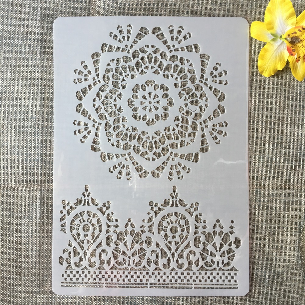 1Pcs A4 Crown Round Circle DIY Craft Layering Stencils Painting Scrapbooking Stamping Embossing Album Paper Card Template
