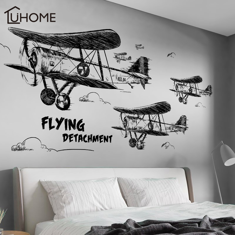 Creative Black and White Aircraft Wall Stickers for Kids