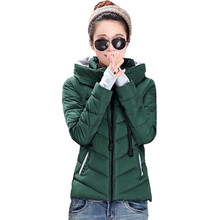 SZMXSS Long Women Winter Jacket Solid Cotton Padded Warm Fur Collar Hooded Cartoon