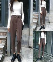 new ring belt suit pants high waist straight ankle-length female students women's casual pants slim harem pants