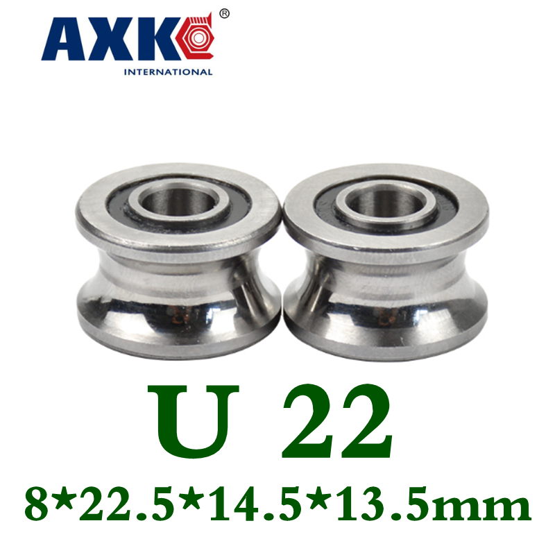 Axk 2pcs U Groove Ball Bearing Guide Track Roller Bearings U22 8*22.5*14.5*13.5mm Wheel Ball Bearing U-22 8x22.5x14.5x13.5mm tv0630 tv0630vv v groove pulley ball bearings 6 30 8 mm track guide roller bearing