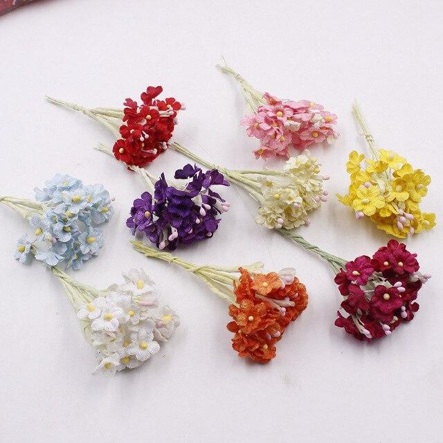 6pcs/ bouquet Artificial Mini Dried Flowers Bouquet Decor Scrapbook ...