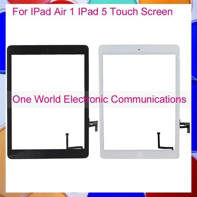 """Черный Белый 9.7 """"для IPad Air 1 IPad 5 Сенсорным Экраном Дигитайзер Сенсорной Панелью Полный Ассамблея + Home Button Наклейка Держатель Камеры"""
