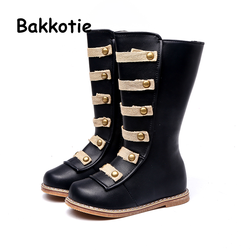 Bakkotie 2018 Winter Baby Girl Fashion Pu Leather High Boots Children Warm Over the Knee Shoes Kid Brand Soft Shoes Toddler Flat