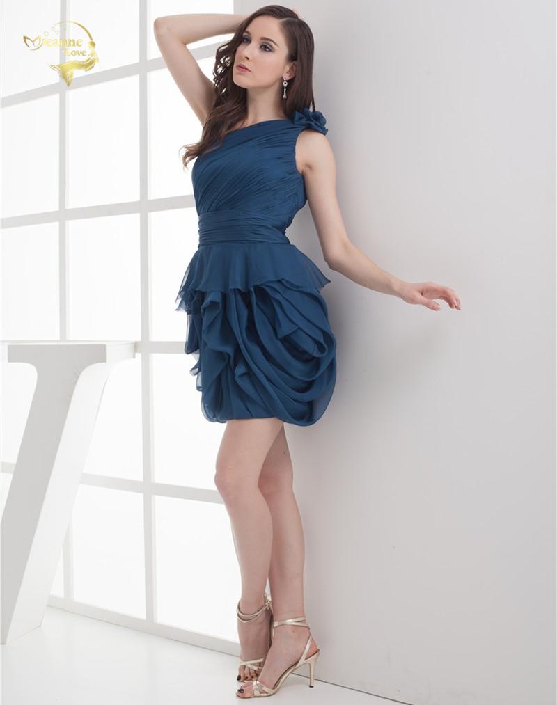 2018 NEW ARRIVAL Cheap Price Vestidos De Formatura Mini Chiffon Fold One Shoulder Flower Short Cocktail Dresses 2018 HCK1235 6