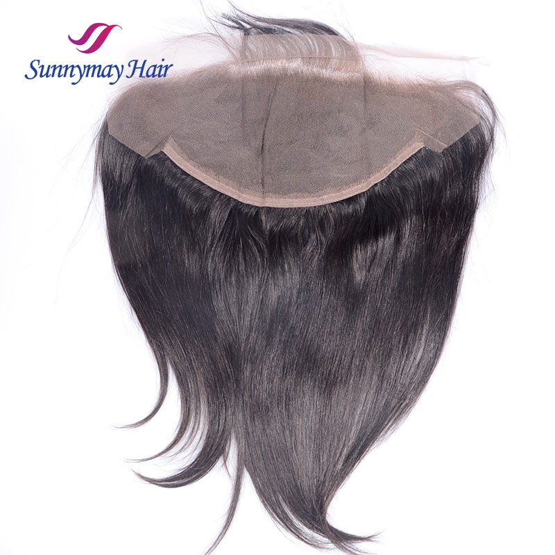 Sunnymay Straight Peruvian Vrigin Hair Lace Frontal 13x6 Per Plucked Hair Line Baby Hair Bleacked Knots Frontal lace Closure