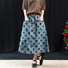 Spring Autumn Woman Vintage Denim Skirt Nation Style Elastic High Waist Polka Dot Print Pocket Button Long Maxi Skirt with Belt polka dot print hanky hem skirt