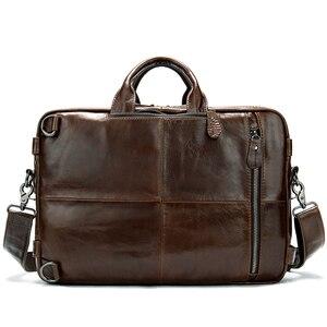 Image 2 - WESTAL Büyük Kapasiteli Erkekler Evrak Çantası Hakiki Deri İş Belge Çanta Erkekler için Deri laptop çantası 14 inç Bilgisayar Çantası 433