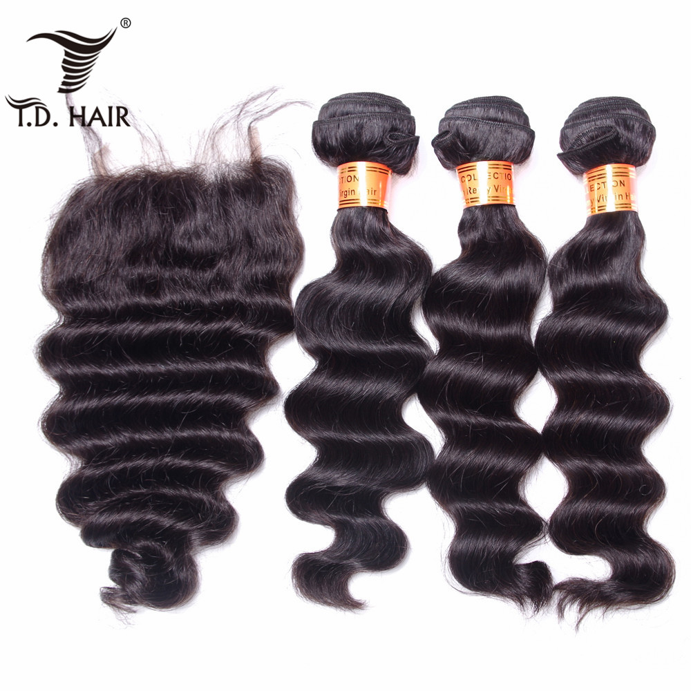 TD Hair Loose Wave Hair Bundle Weave with Lace Closure Weaving Human Hair Remy Brazilian 3/4 Pieces Hair Bundles With Closure