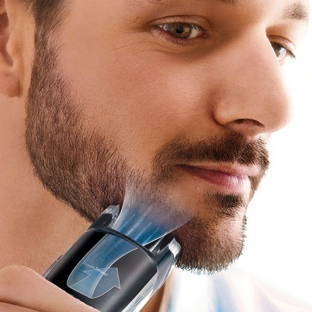 Professional vacuum beard trimmer for men hair trimer mustache trim rechargeable face shaving machine electric stubble trimming  1