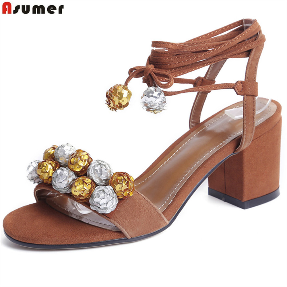 ASUMER blue brown fashion summer shoes woman ankle strap bling women high heels sandals square heel suede leather new arrival black brown leather summer ankle strappy women sandals t strap high thin heels sexy party platfrom shoes woman