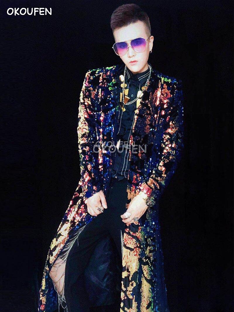 Nouvelle mode mâle chanteur DJ danseur discothèque bar magique long parapluie manteau costume partie spectacle scène performance veste - 4