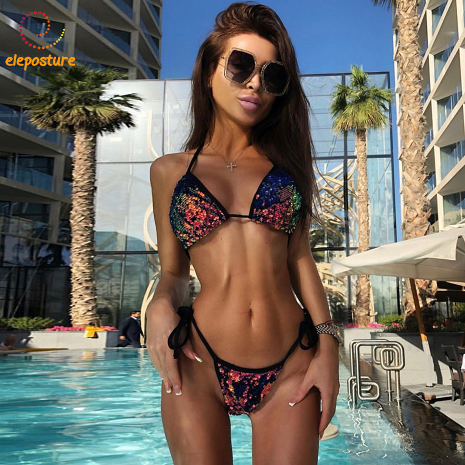2018 New Sexy Bikini Sequins Swimwear Women Swimsuit Halter Push Up Bikini Set Brazilian Bathing Suits Swim Wear Maillot De Bain tassel bikini set sexy bikini push up swimsuit women two piece suits bandeau swimwear female maillot de bain femme 2016 new