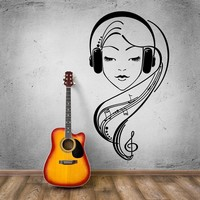 Hot Selling Sexy Girl Vinyl Wall Beautiful Girl in Headphones Music Lover Bedroom Mural Wall Sticker Removeable Home Decor