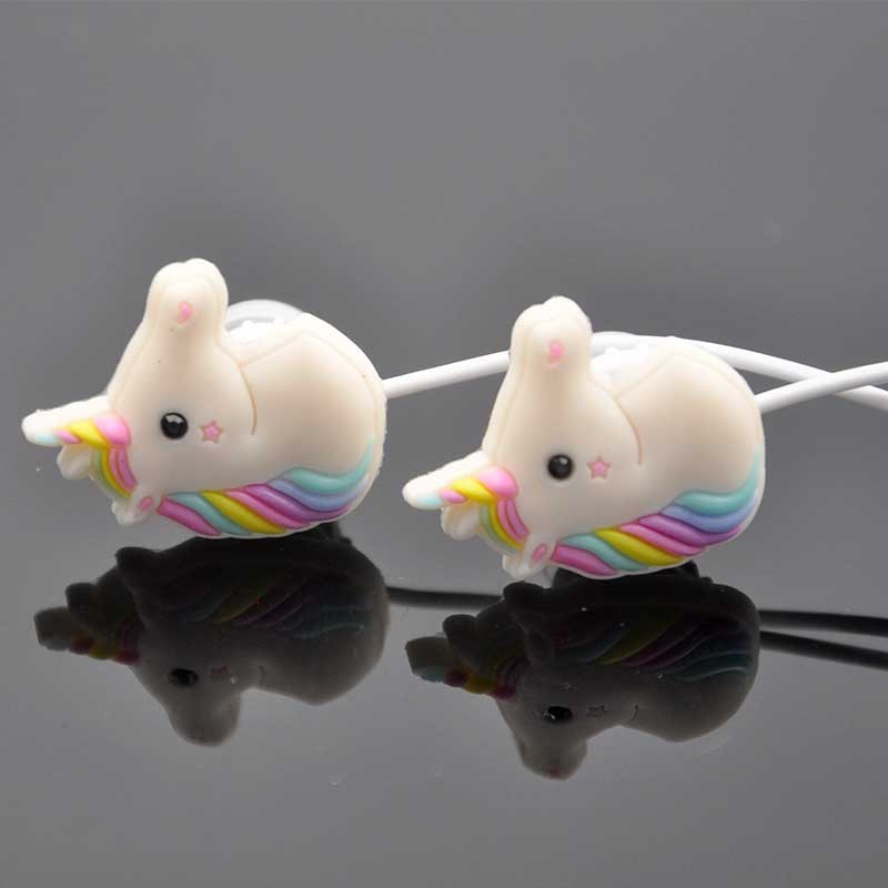 Special Gift Cute Cartoon Horse Earphone 3.5mm Luck Rainbow Horse Earbud With Mic Earphone For Samung  Iphone Smartphone