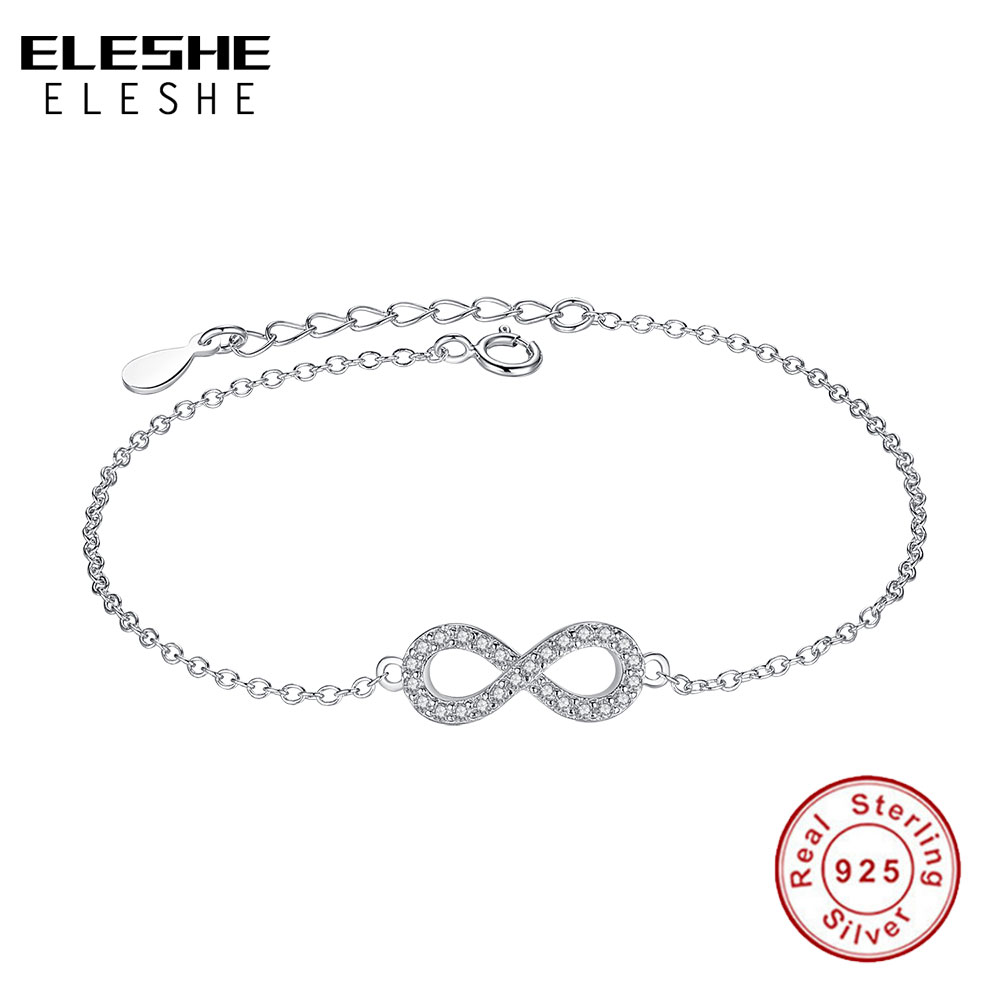 ELESHE Authentic Jewelry Pulserias Gift 925 Sterling Silver Infinity Bracelets for Women European Link Chain Crystal Bracelets