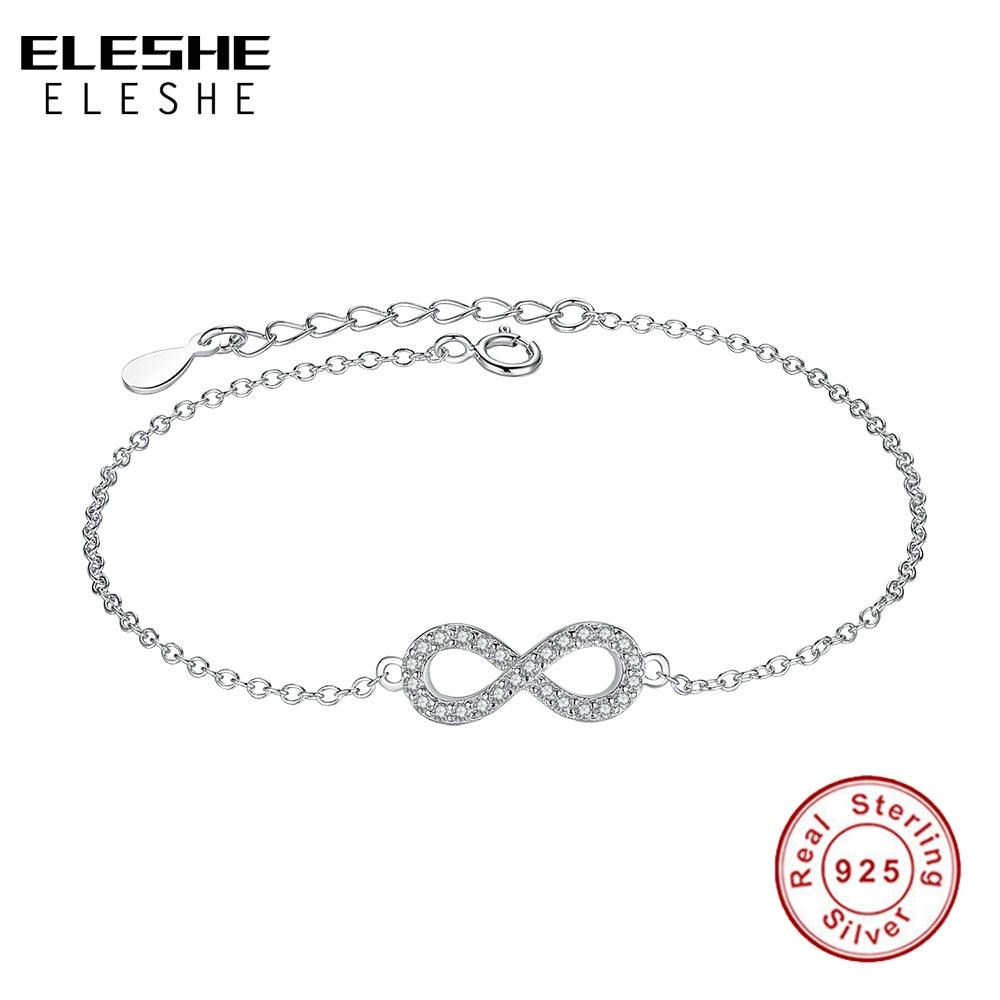 ELESHE Authentique Bijoux Pulserias Cadeau 925 Bracelets Infinity En Argent Sterling pour Femmes Européen Lien Chaîne Bracelets En Cristal