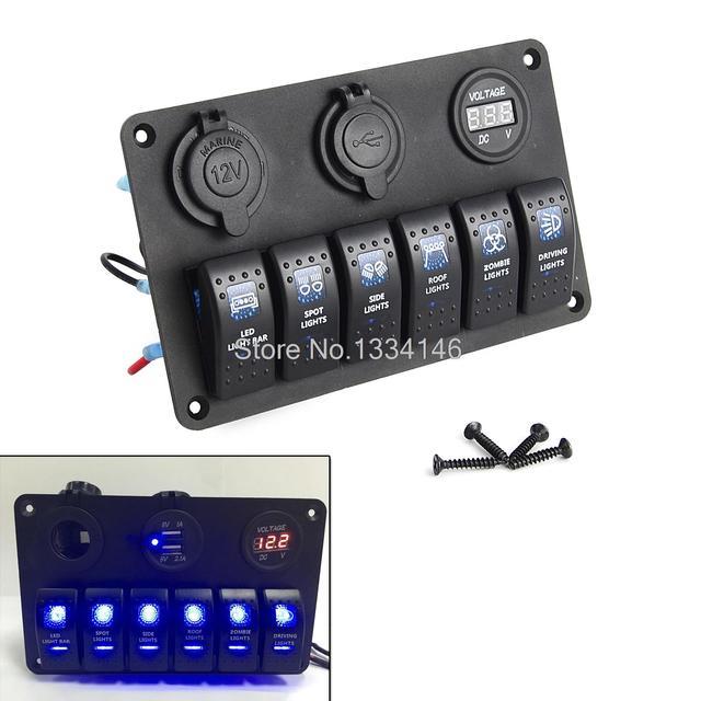 interrupteur bascule panneau disjoncteur 6 gang tanche marine bateau circuit bleu led ac dc. Black Bedroom Furniture Sets. Home Design Ideas