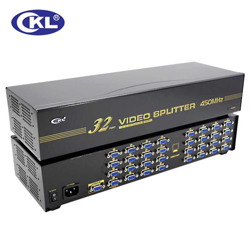 CKL-932 High Quality 32 Port VGA Splitter 1*32 For Projector,display,TV Support 450Mhz 2048*1536
