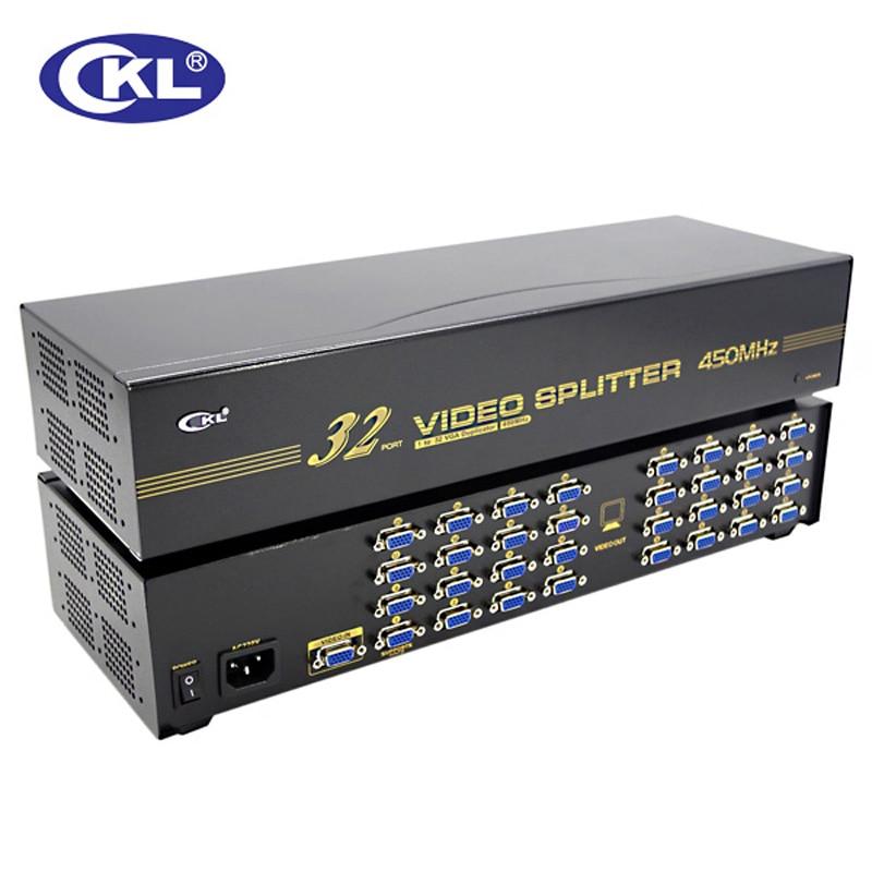 CKL-932 High Quality 32 Port VGA Splitter 1*32 For Projector,display,TV Support 450Mhz 2048*1536