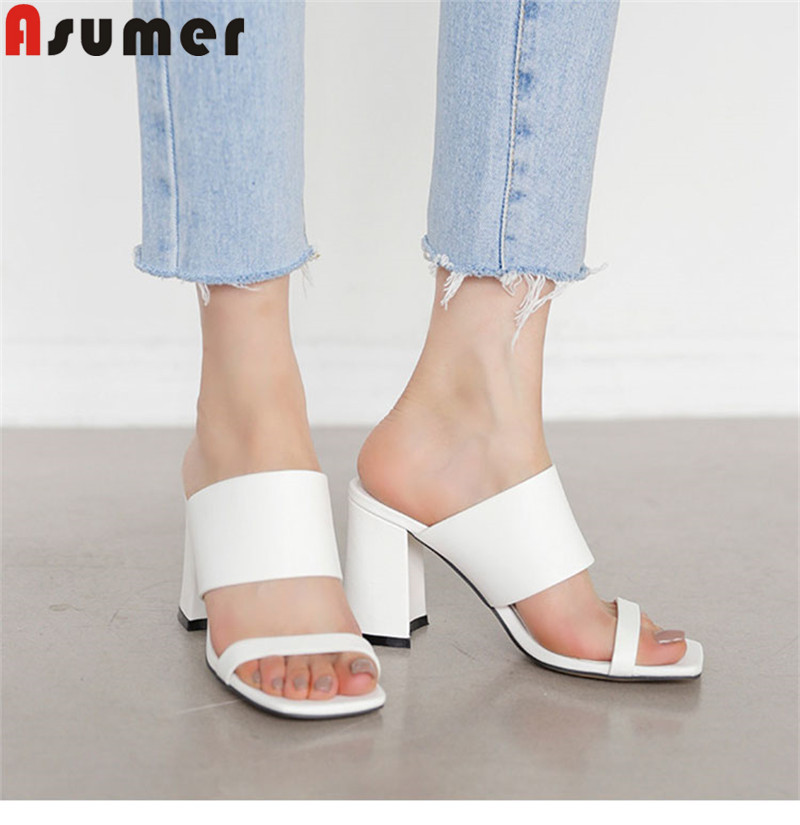 ASUMER Sandals Shoes High-Heels Genuine-Leather Slingback Elegant New Thick Simple