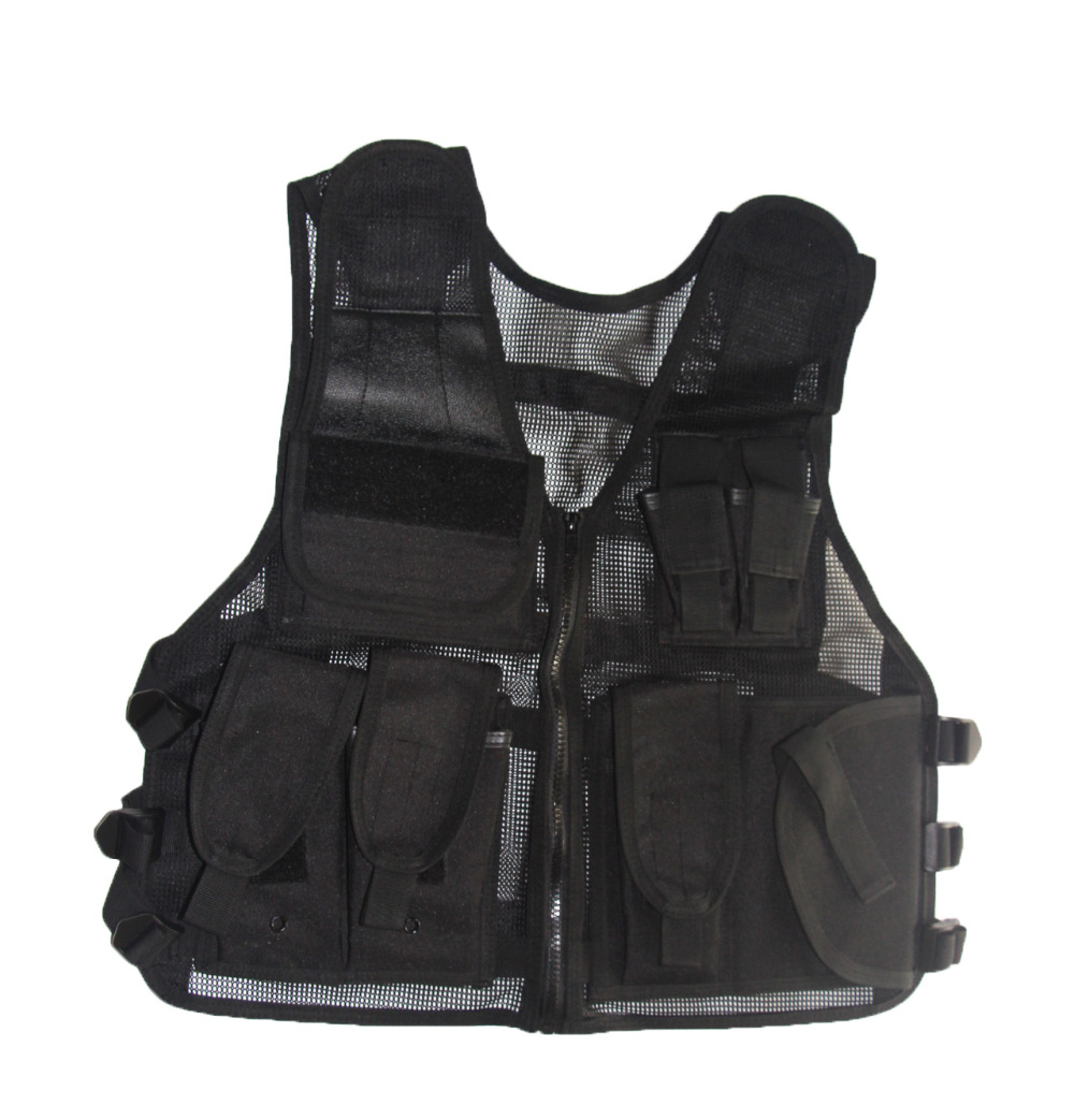 Tactical Military Molle Mesh Vest Multifunctional Outdoor Adjustable Camo Black Quick Dry