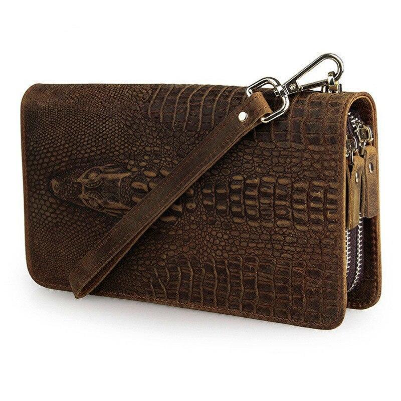 Man Leather Crocodile Pattern Vintage Cowhide Clutch Wallet Male Hand Take Zippers Double Space Men Long