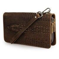 Crocodile Pattern Vintage Cowhide Male Clutch Wallet Big Capacity Double Zipper Compartments Men Long Purse PR088070R
