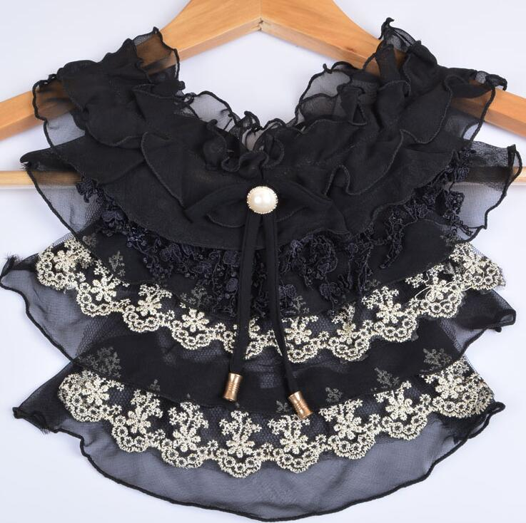 Women's Korean Fashion Lace Shirt Fake Collar Lady's White Black Color Ties & Detachable Collar R491