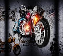 Beibehang Custom wallpaper motorcycle broken wall personality bar graffiti ktv background Home decoration 3d