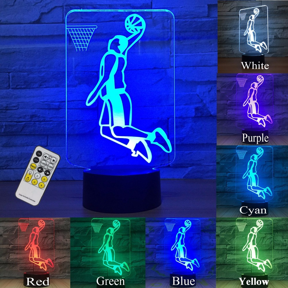 Basketball Toy Night Lights for Kids 3d Night Light Lamp Help Kids Night 7 Colors Novelty Gift for Boys and Girls Birthday Party