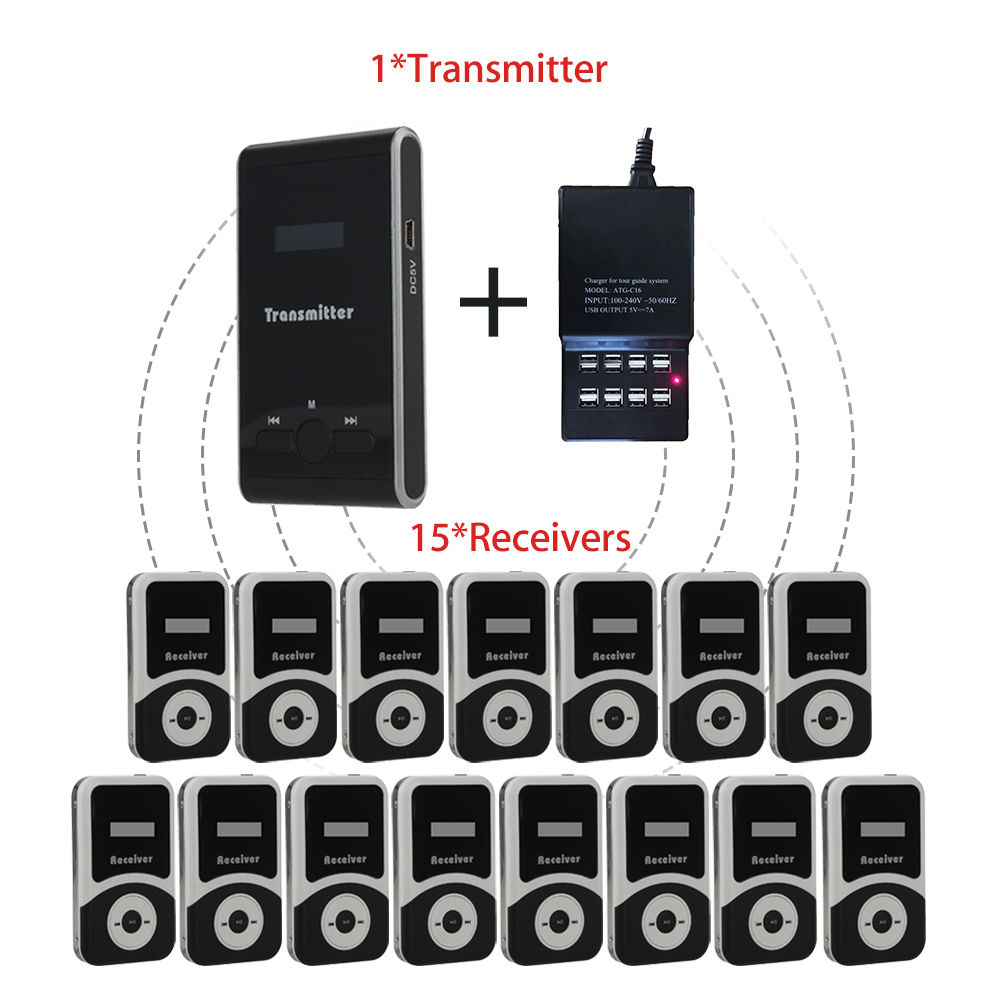 DHL Shipping!ATG100 Portable Mini Meeting Tourism Teach Microphone Wireless Tour Guide System 1Transmitter+15 Receivers+Charger цена и фото