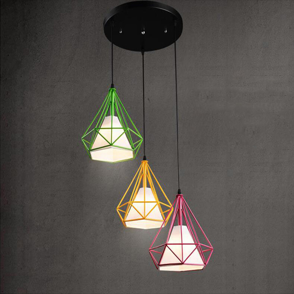 Pendant Light Modern Art Pyramid Nordic Iron Diamond Lamp Birdcage Pendant  Lamps Home Decorative Light Fixture Lighting 3 Piece In Pendant Lights From  ...