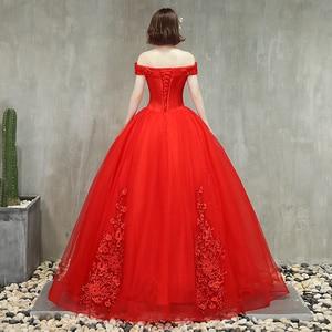 Image 5 - Robe Quinceanera, rouge rose, épaules dénudées, avec perles, application, grandes robes De bal, robe bouffante, bal De mascarade