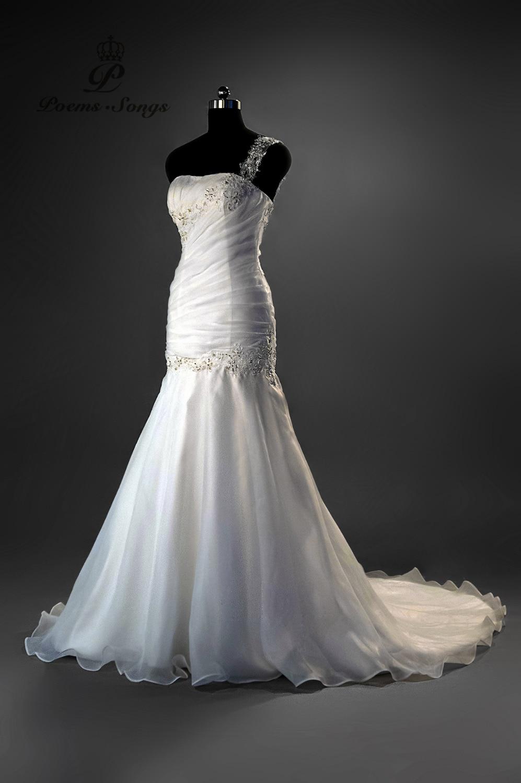 Poemssongs 2017 Custome Made One Shoulder Style Wedding Dresses For Wedding Vestido De Noiva High Quality