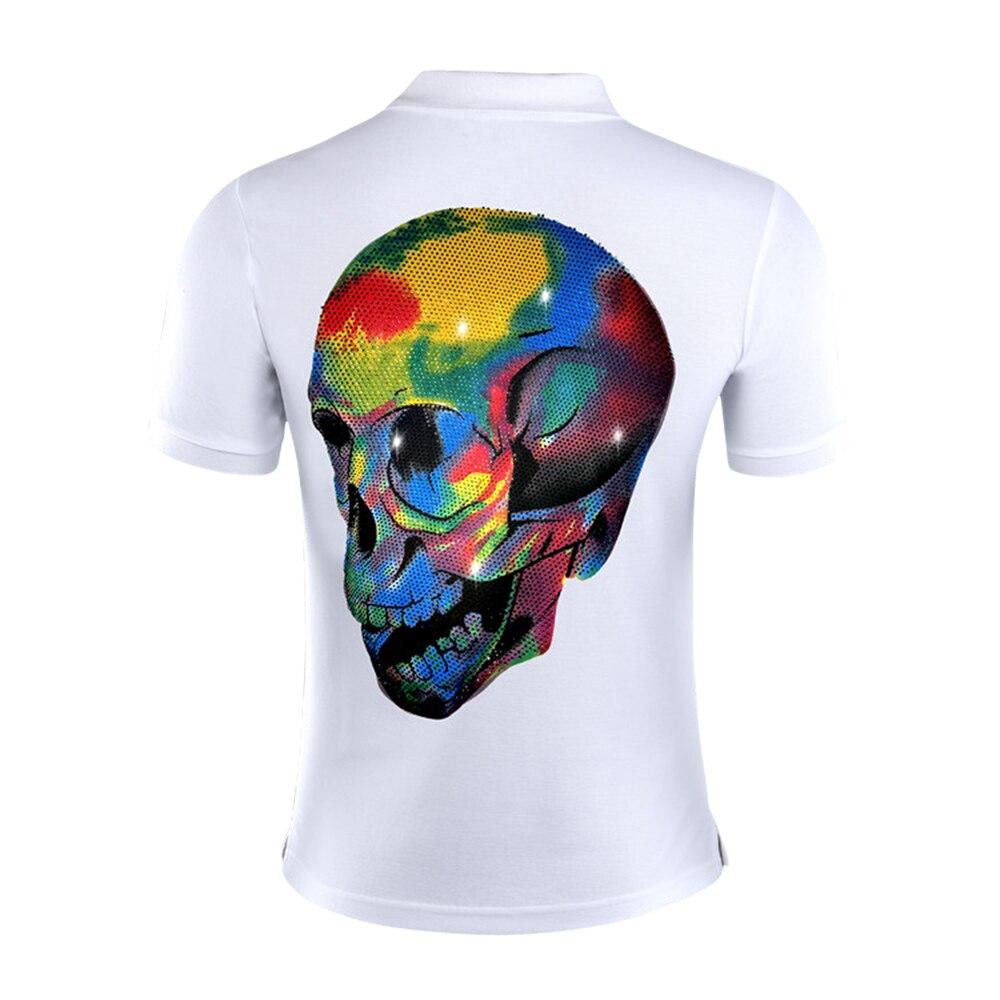 DUYOU marque hommes Polo chemise hommes Punk décontracté strass coloré crâne mâle Polo chemise à manches courtes de haute qualité pur coton