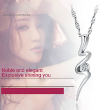 Silver Jewelry Irregular Crystal Pendant Necklace Sterling Silver 925 Chain Cubic Zirconia Pendants Charms(China)