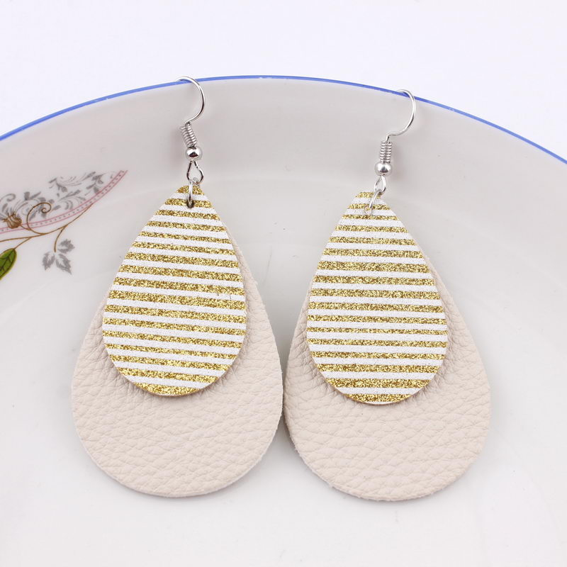 ZWPON 2019 New Glitter Stripe Layered PU Leather Teardrop Earrings for Women Fashion Spring Silver Wholesale