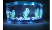 Mini goldfish bowl Crystal shrimp jar Fish tank for fry hatching bucket LED acrylic fish Multi-partition mini
