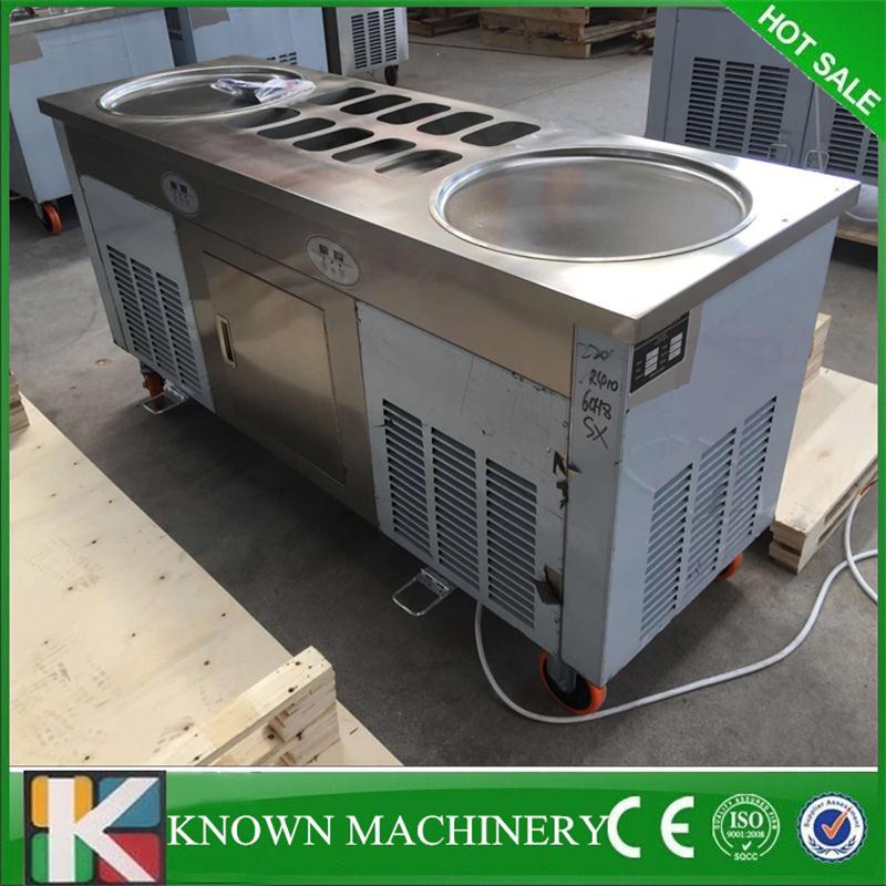 Double casserole réfrigérant de haute qualité R410 avec 10 réservoirs de nourriture de refroidissement machine de crème glacée frite de rouleau d'acier inoxydable