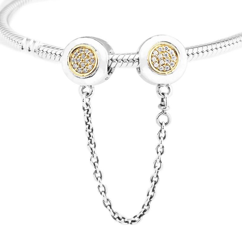 Adapte pour Pandora Charms Bracelets 100% 925 Sterling-Argent-Bijoux Signature Sécurité Chaîne Perles avec La Lumière Jaune Or couleur