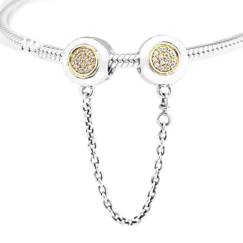 Convient pour Pandora bracelets à breloques 100% 925 Sterling-argent-bijoux Signature chaîne de sécurité perles avec couleur or jaune clair