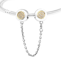 Fits for Pandora Charms Bracelets 100% 925 Sterling Silver Jewelry Signature Safety Chain Beads with Light Yellow Gold Color