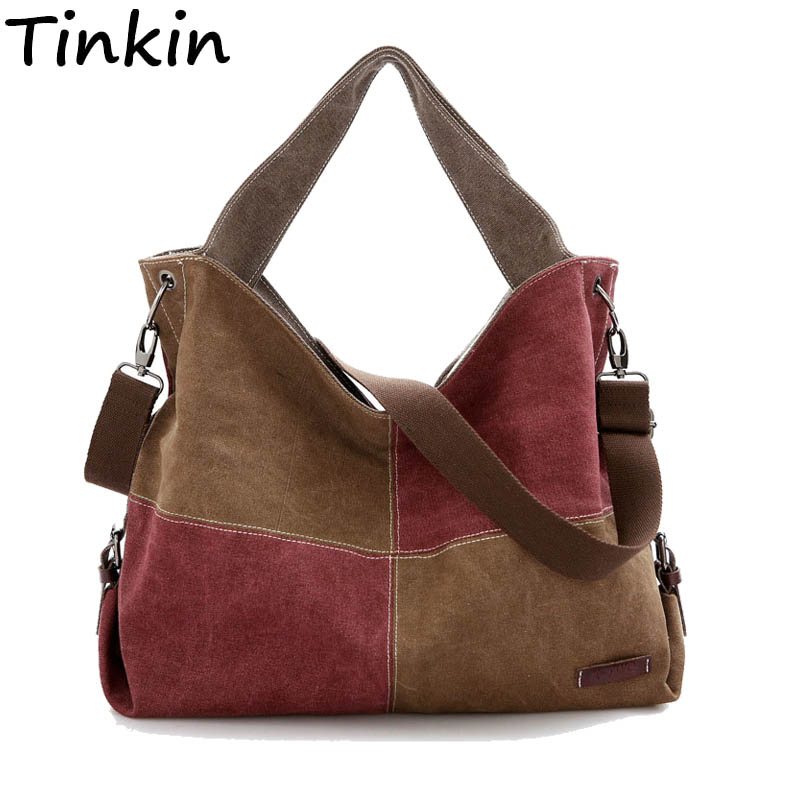 Tinkin Patchwork Canvas Women Handbags Tote Vintage Femal Shoulder Bag Contrast Color Crossbody Bag for Young Fashion Travel Bag