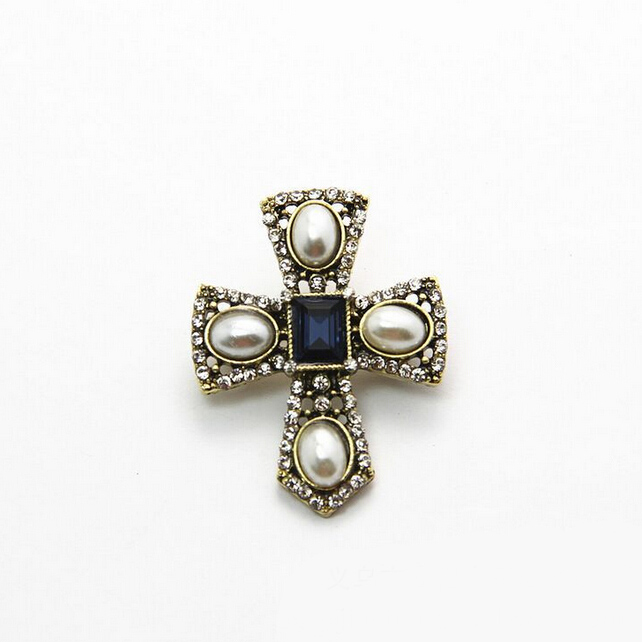 H:HYDE Hot Sale New Vintage Imitation Pearl Cross Brooches Pins Crystal Womens Brooch New Jewelry