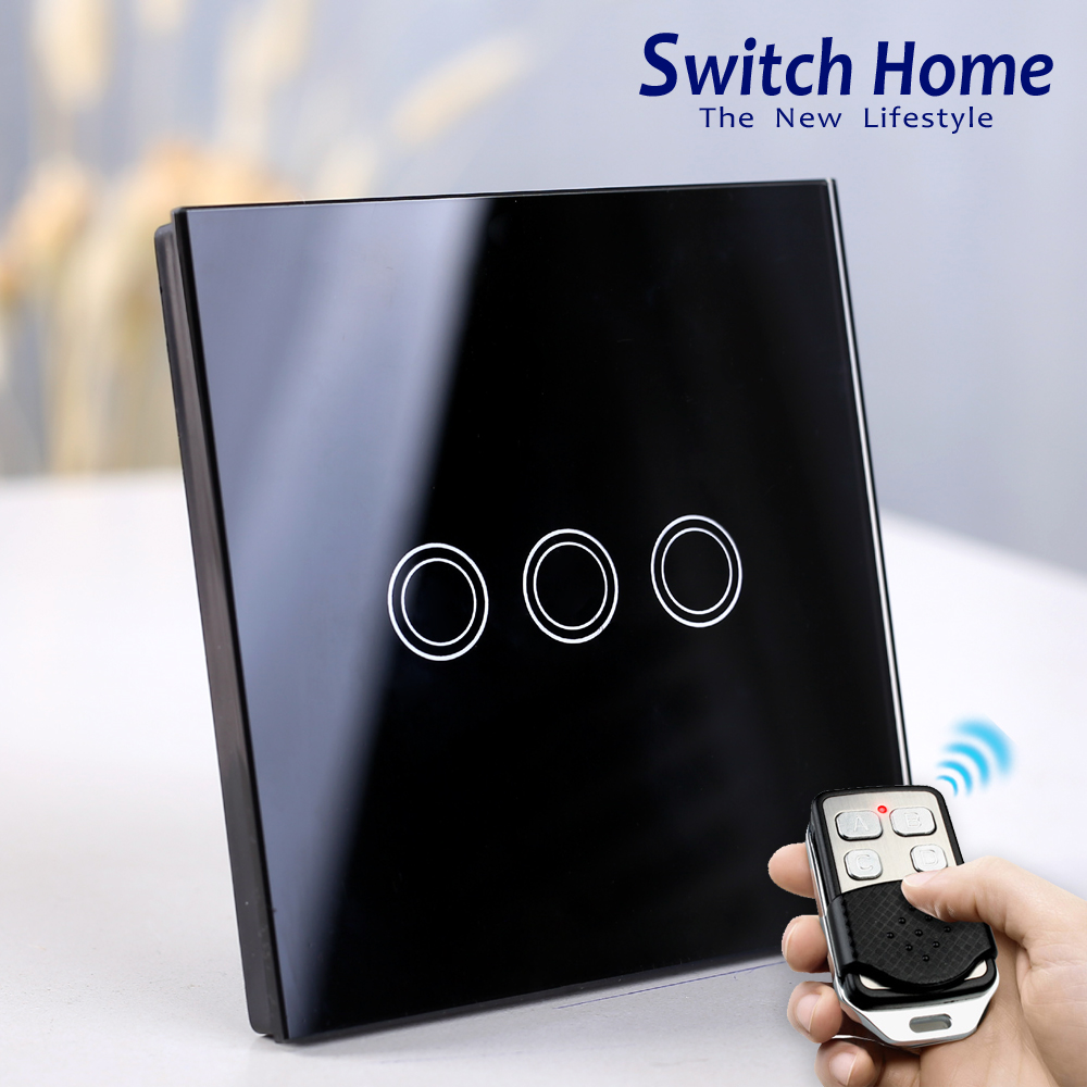 Wireless Remote Control Touch Wall Light Switch, EU/UK Standard 130V~240V 1/2/3 Gang Dampproof glass panel Touch Light SwitchWireless Remote Control Touch Wall Light Switch, EU/UK Standard 130V~240V 1/2/3 Gang Dampproof glass panel Touch Light Switch