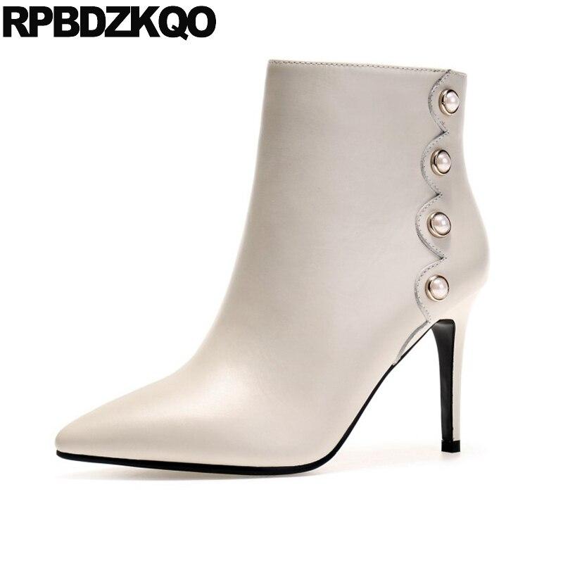 Beige Short Female Designer Shoes Women Luxury 2017 Genuine Leather Autumn Boots Pearl Ankle High Heel Stiletto Elegant Booties 2016 designer snow boots with pearls and diamonds genuine leather pearl boots for women purple color